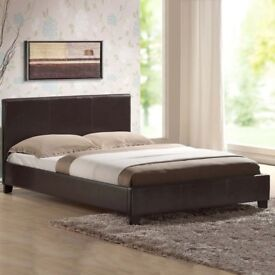SAME DAY DELIVERY** BRAND New Double or King Leather Bed with 10 INCHES WHITE ORTHOPEDIC Mattress
