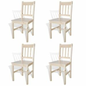 4 x Pine Wood Dining Chairs Natural