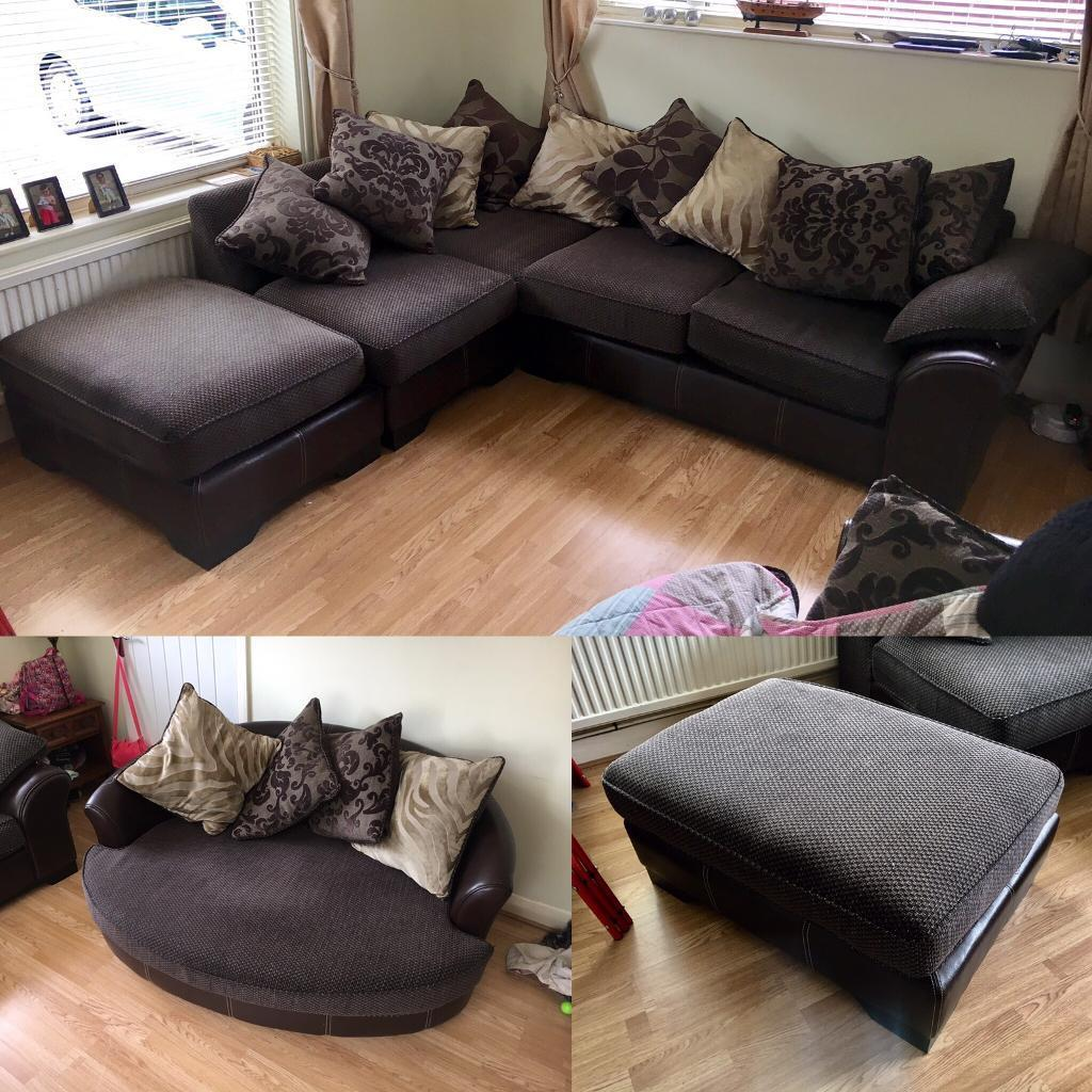 Beautiful DFS Corner Sofa, Cuddle Chair And Foot Stool