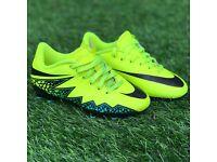 Boys size 11 Nike flourecent yellow hypervenom boots