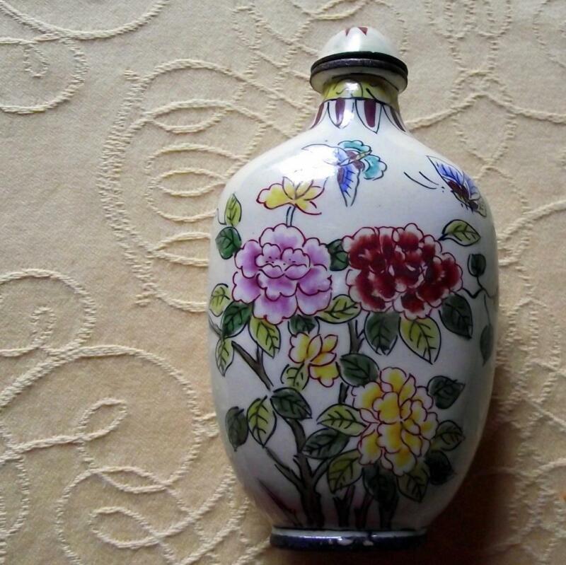 Vintage Qianlong Signed Chinese Oriental Snuff Perfume Bottle Enamel on Copper H