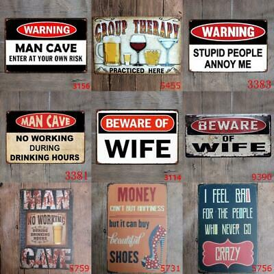 Metal Tin Funny Beware wife Wall Home Art Decor Bed Bath Sign Poster Man cave