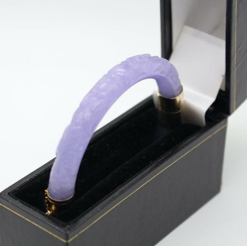 ANTIQUE CHINESE CARVED TRANSLUCENT LAVENDER JADE BRACELET WITH 14KT GOLD CLASP