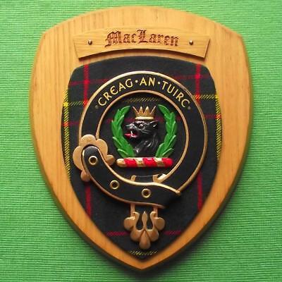 Celtic Vintage Old Scottish Carved Oak Clan Maclaren Tartan Plaque Crest Shield
