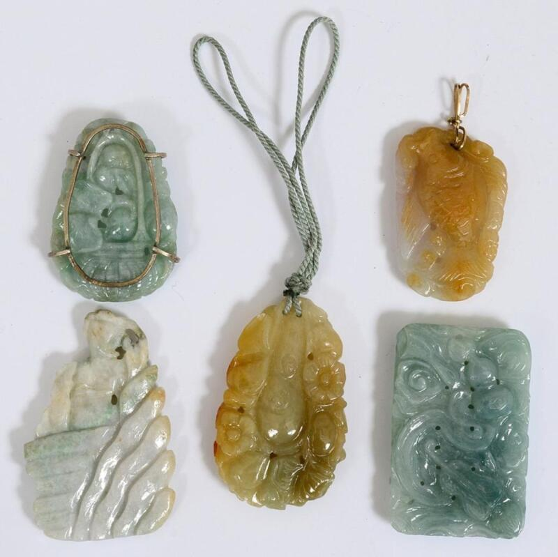 Antique Group of Five Carved Jade Pendants.