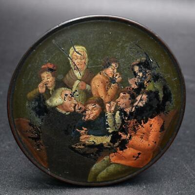 "Rare Antique German ?Papier Mache Snuff Box Lid ""Snuff Takers"" Circa 1820 Signed"