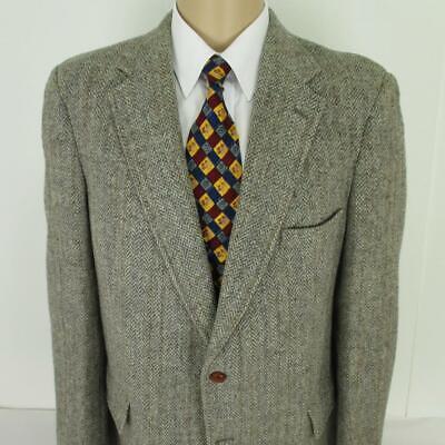 42 R (44 L) Harris Tweed Brown Gray Wool 2 Btn Mens Jacket Sport Coat Blazer