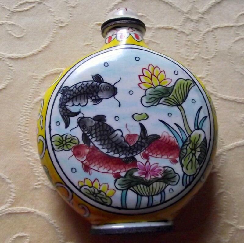 Vintage Qianlong Signed Chinese Oriental Snuff Perfume Bottle Enamel on Copper C
