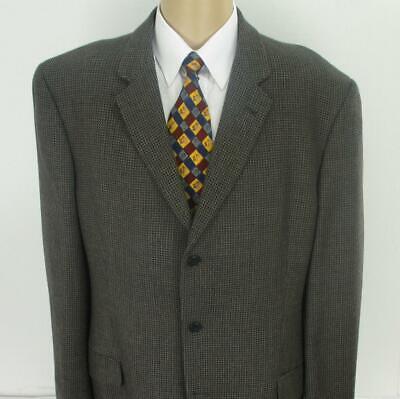 48 L Joseph Abboud Brown Gray Tweed Wool 3Btn Mens Jacket Sport Coat Blazer Mint