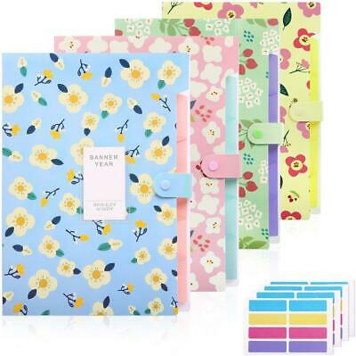 4 Pack Expanding File Folders With 32 Pcs Labels 5 Pockets For School Office