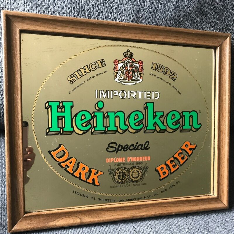 Vintage Heineken Special Dark Beer Bar Mirror 17