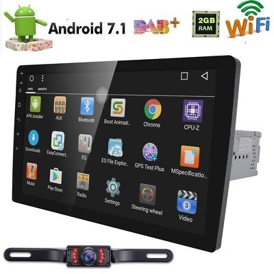 "Android7.1 1Din 10.1"" HD Car Stereo GPS Radio Head Unit BT DAB OBD 4G Wifi+CAM"