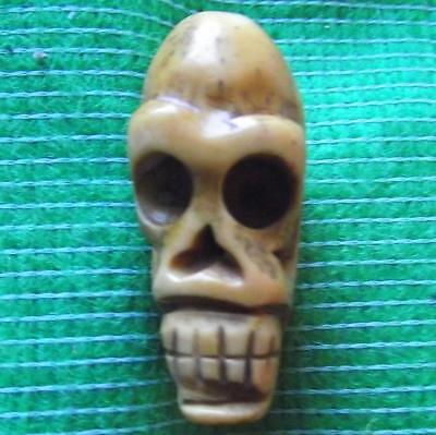 Japanese Amulet Netsuke Bovine Bone Occult Wichcraft Wiki Skull 33mm