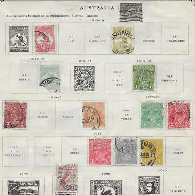 13 Australia Stamps from Quality Old Antique Album 1913-1923