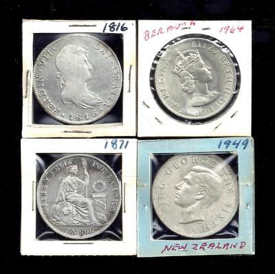 4 Antique Large Silver Dollar Size Coin Lot 1816 Spain 8 Reales 1871 Peru Un Sol