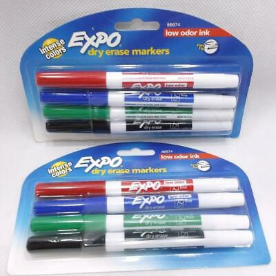 8 Expo Dry Erase Markers Low Odor Assorted Intense Colors Fine Tip 86674