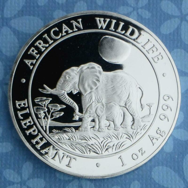 2011 Somalian African Elephant 1 Ounce .999 Fine Silver 100 Shillings Coin