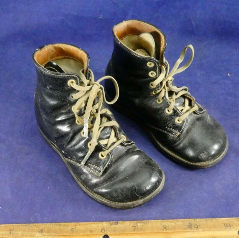 Antique Childs Black Leather Lace Up Hi Top Shoes Boots Children Footwear !