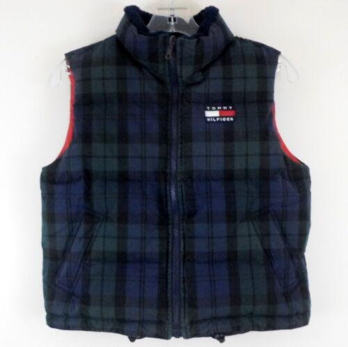 TOMMY HILFIGER Boys 7 Zip Front Down Puffer Vest Black Watch Plaid