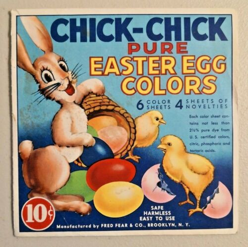 Vintage 1943 CHICK-CHICK Pure Easter Egg Colors Dye Kit Rare -- 1362