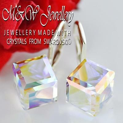 Cube Sterling Silver Earrings - 925 Sterling Silver Earrings CUBE 8mm CRYSTAL AB Crystals From Swarovski®
