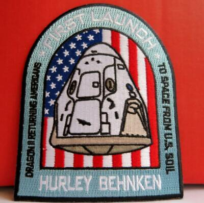 SPACE X FALCON 9 1ST CREW DEMO-2 MANNED MISSION PATCH - HURLEY & BEHNKEN TO ISS