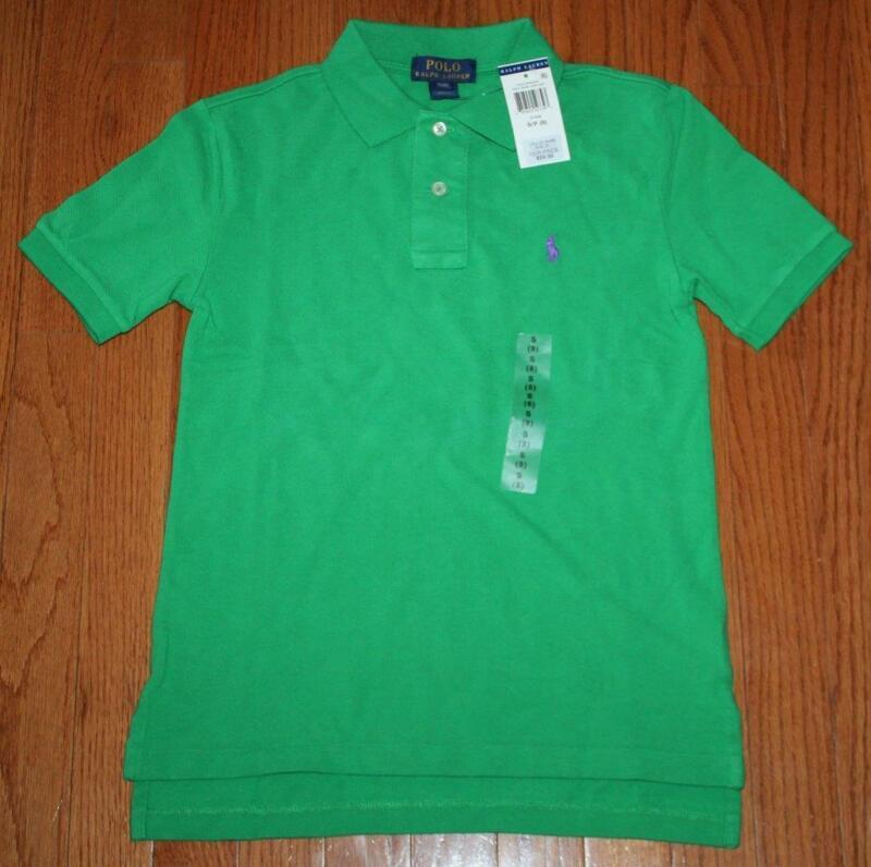 New Nwt Polo Ralph Lauren Boys Short Sleeve Polo Shirt Stem Green Pony Logo *c2