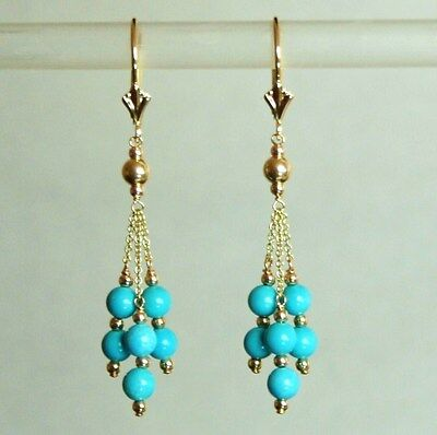 14k solid yellow gold natural 4mm Arizona turquoise earrings leverback