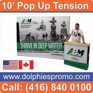 Trade Show 10' Pop Up Tension Fabric Display Backdrop Booth + CUSTOM Dye-Sublimation Graphics by www.DolphiesPromo.com
