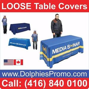 Custom Printed TABLE COVERS Marketing Event Trade Show Booth Tablecloth Cover - LOOSE or STRETCH Styles