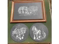 3 slate wall hangings , 1 framed , farming theme