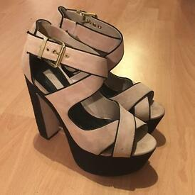 Topshop, beige and black high heels