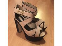 Topshop, beige and black high heels