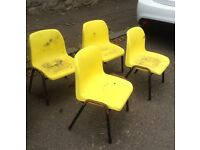 School chairs, yellow, 4 x infant size. Very cute!
