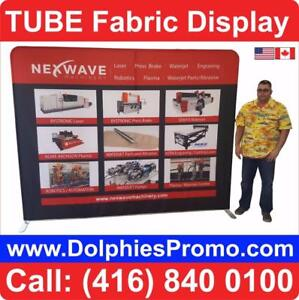 Trade Show Marketing Event TUBE Tension Fabric Back Wall Portable Display + CUSTOM FABRIC GRAPHICS by DolphiesPromo.com