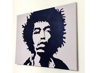 Large POP ART Canvas- Jimi Hendrix Painting - Grey and Black