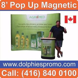NEW Trade Show Event 8' Pop Up Magnetic Display Booth PACKAGE with Podium and 2 Lights + Custom Printed Graphics - $1459