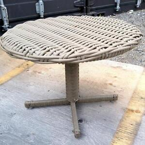 SMALL PATIO TABLE CANE WICKER  GRAY CANE $30 OAKVILLE