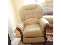 Single Leather Cream Sofa