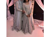 Wedding party dress silver grey asian pakistani indian new design sizes 6, 8 and 10