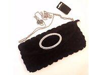 Accessories Black Ruffled Rose Bag
