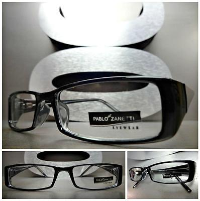 CONTEMPORARY MODERN Style Clear Lens EYE GLASSES Thin Rectangular Black Frame