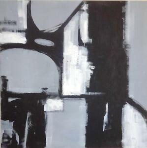 """BRIDGE"" 48X48"" Huge Original Abstract Painting BLACK WHITE GRAYS Valerie Koudelka Oakville 905 510-8720"
