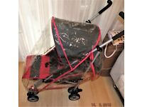 pushchair pram ,in grey and pink ,with original raincover , very good condition