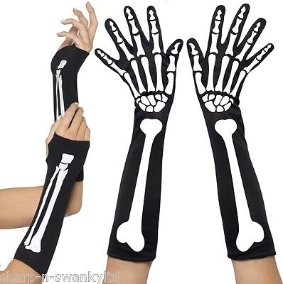 Halloween-kostüme, Weißen Handschuhen (Damen Sexy Halloween schwarz weiß Skelett Fingerlose Maskenkostüm Handschuhe)