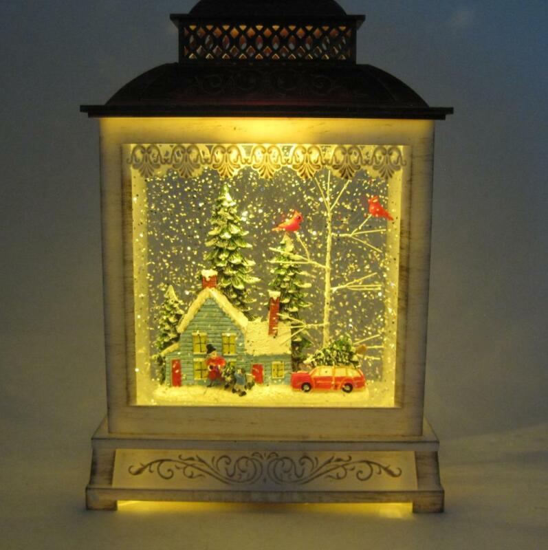 Musical Spinning Water Globe Lantern Family with Christmas Tree on Car at Home