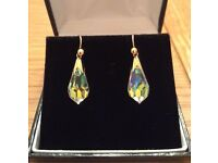 Vintage Hallmarked 9 ct Yellow Gold & Crystal Earrings for Pierced Ears *Mother's Day Gift* Unworn