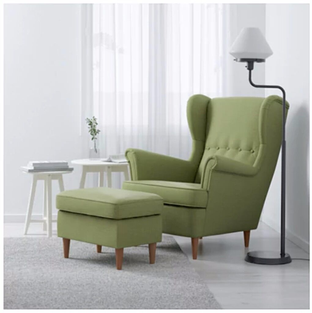 Beautiful green armchair and a footstool (Ikea's STRANDMON ...