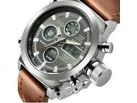 Brand new mens quartz/digital watch with leather strap