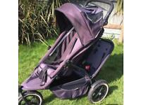 Phil and Teds Double Tandem Pushchair Travel system with loads accessories